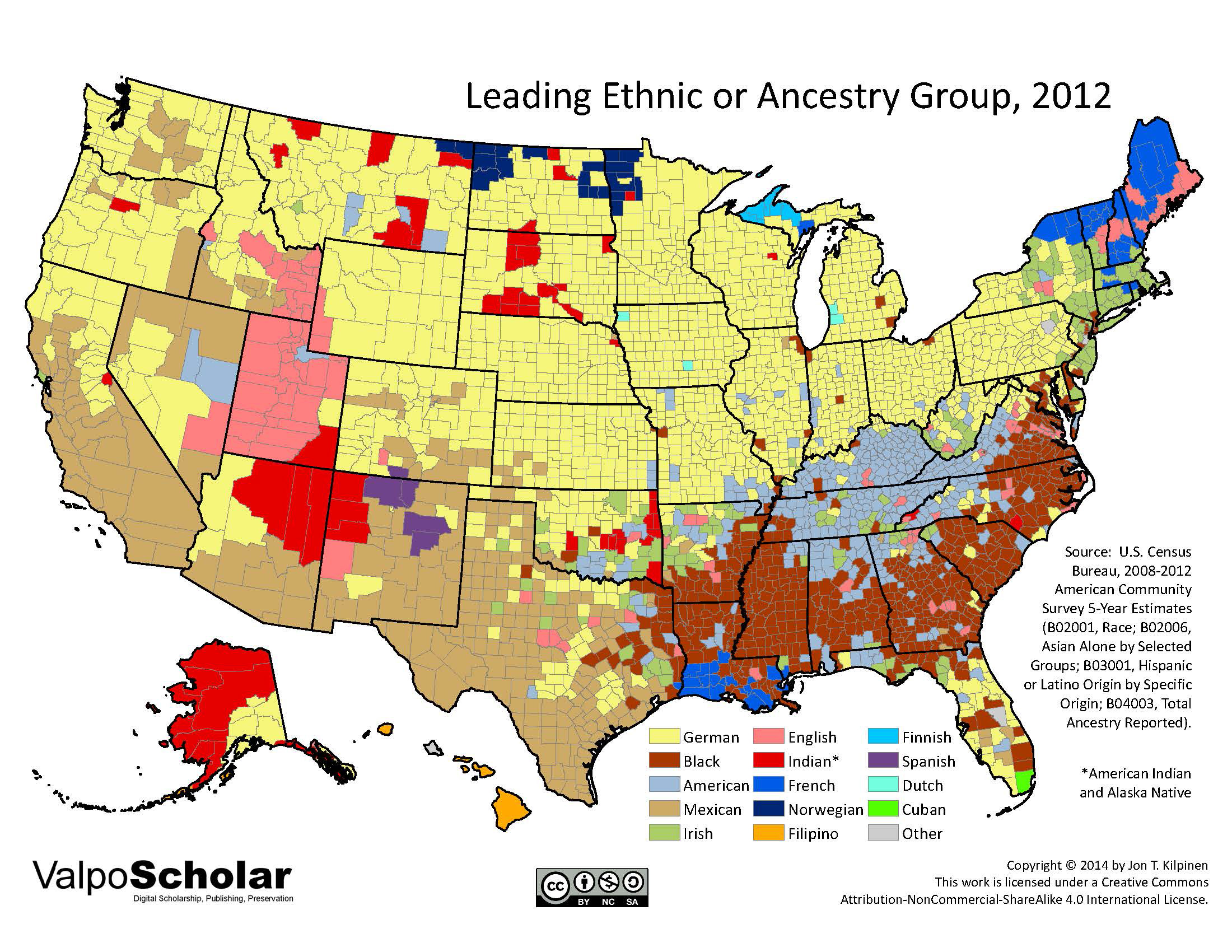 Leading Ethnic Or Ancestry Group By Jon T Kilpinen - Us census ancestry map