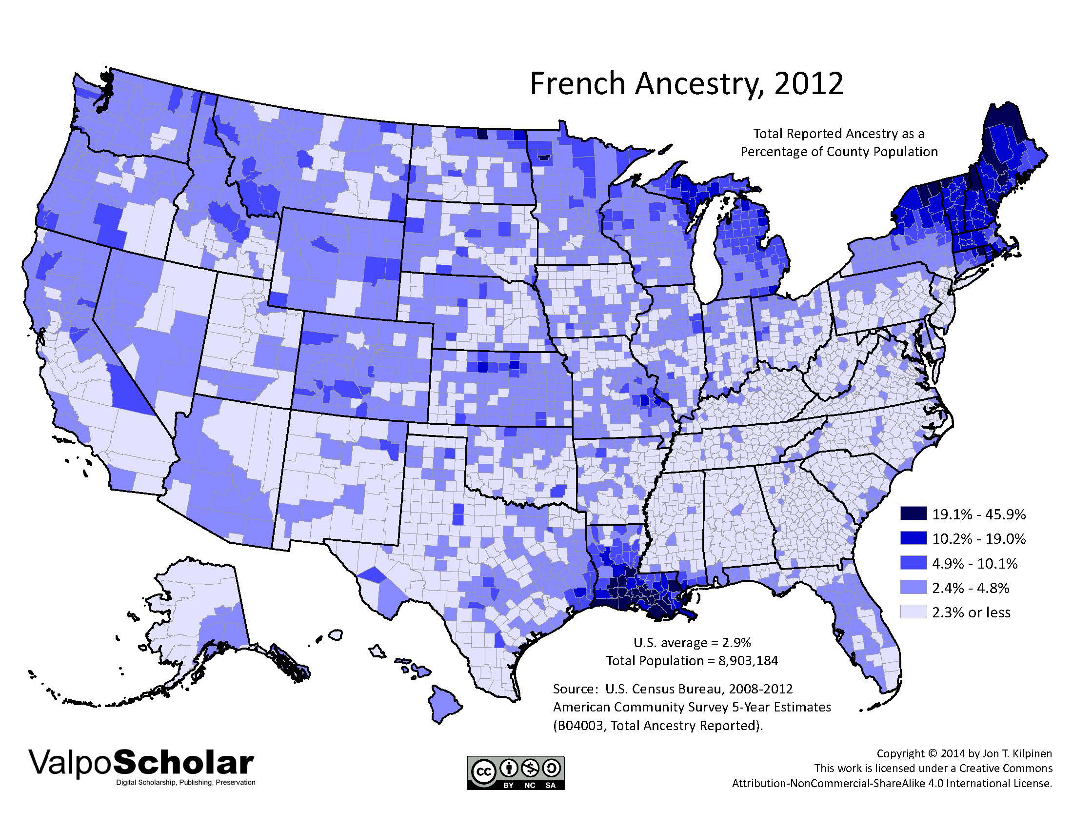 French Ancestry By Jon T Kilpinen - Ancestery us map