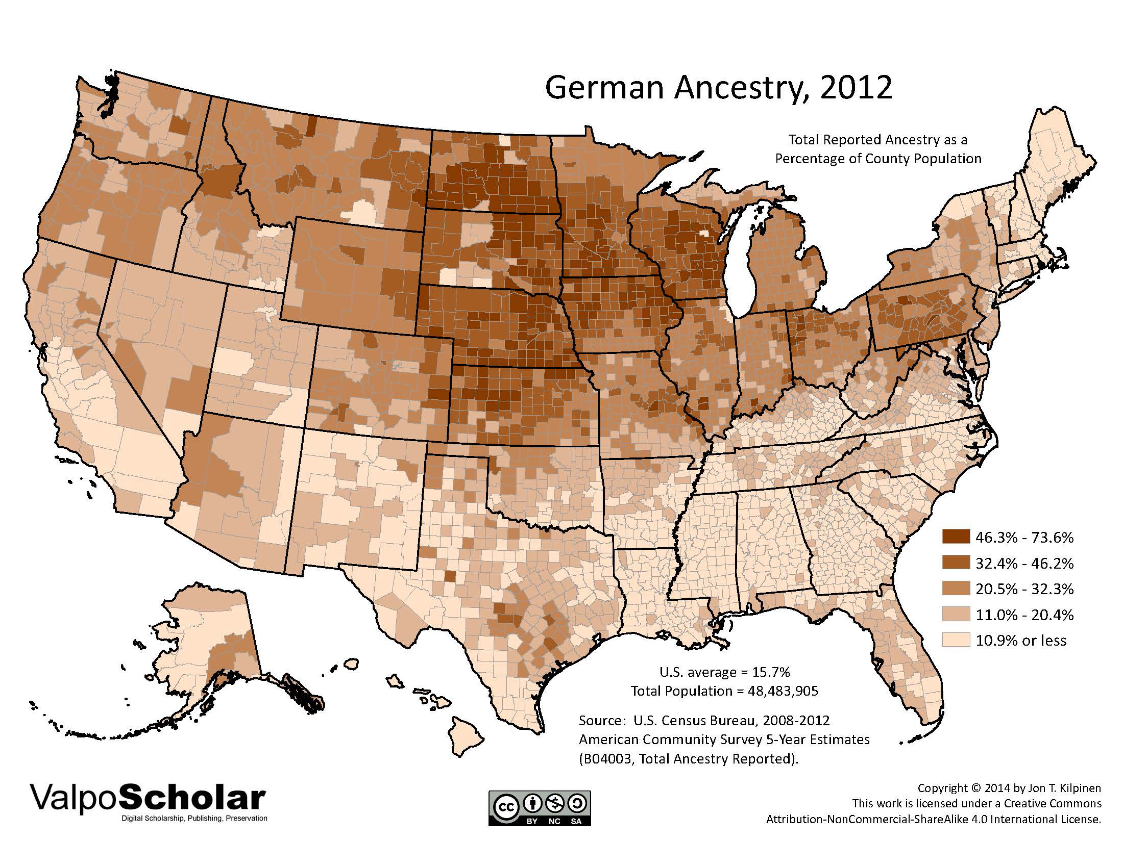 German Ancestry By Jon T Kilpinen - Us ancestry map