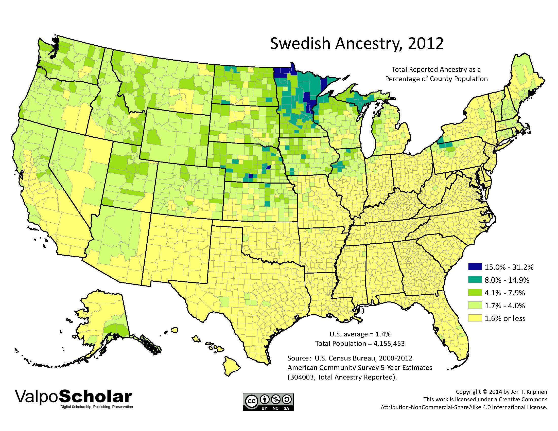 Swedish Ancestry By Jon T Kilpinen - Us ancestries map