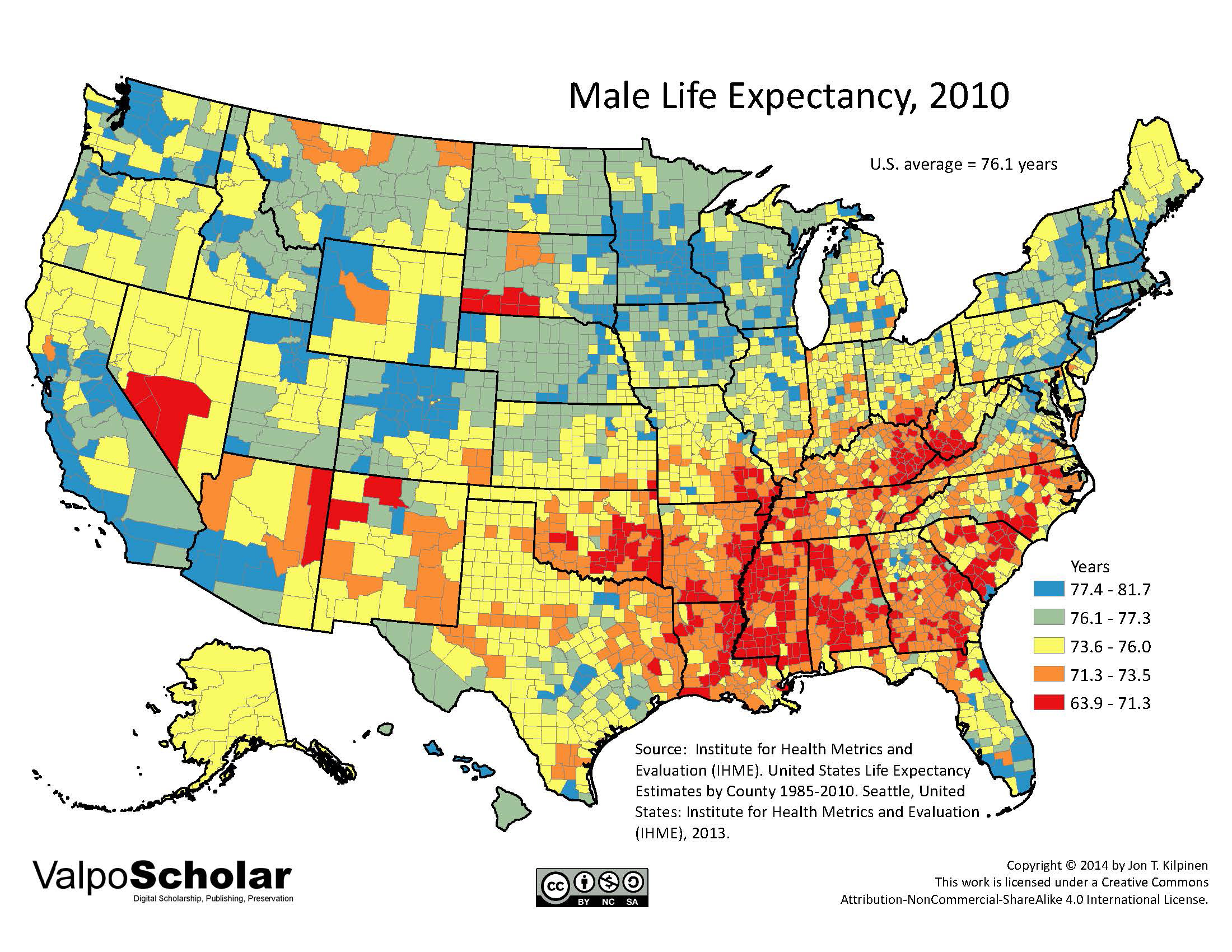 Male Life Expectancy By Jon T Kilpinen - Life expectancy by us county 2014 map