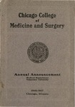 Old School Catalog 1916-17, Chicago College of Medicine and Surgery